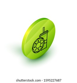Isometric line Paper glass with drinking straw and donut icon isolated on white background. Soda aqua drink sign. Fast food menu. Green circle button.