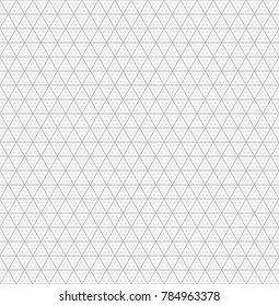 Isometric line seamless grid and pattern. Triangular geometric repeat background.