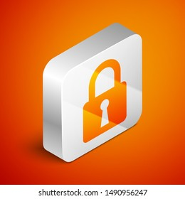 Isometric Lock icon isolated on orange background. Closed padlock sign. Cyber security concept. Digital data protection. Safety safety. Silver square button