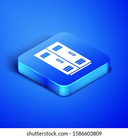 Isometric Locker or changing room for football, basketball team or workers icon isolated on blue background. Blue square button.