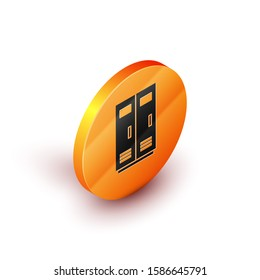 Isometric Locker or changing room for football, basketball team or workers icon isolated on white background. Orange circle button.