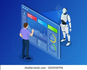 Isometric Maintenance engineer working with digital display. Robot programming concept. Artificial intelligence horizontal banner.