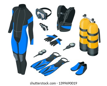 Isometric mans Scuba gear and accessories . Equipment for diving. IDiver wetsuit, scuba mask, snorkel, fins, regulator dive icons Underwater activity diving equipment and accessories Underwater sport
