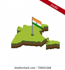 Isometric map and flag of India. 3D isometric shape of India. Raster copy.