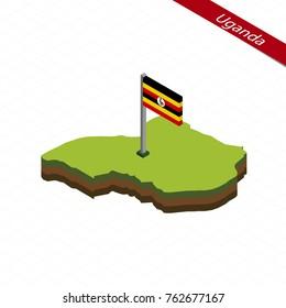 Isometric map and flag of Uganda. Raster copy.
