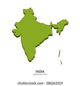 Isometric map of India detailed illustration. Isolated country for infographic