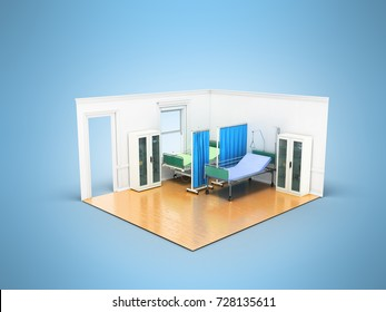 Isometric medical room with two beds for help a locker with medicines 3D render on blue background