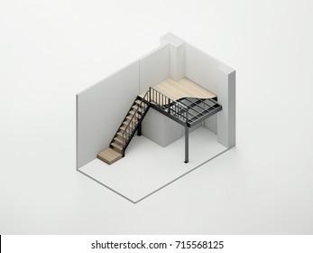 Isometric mezzanine structure 3D render
