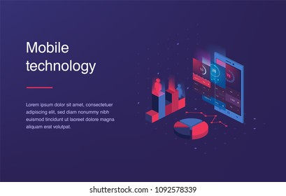 Isometric mobile phone. Smart and simple web interface with different apps and icons. 3d . Web banner with laptop and currency. Isometric gradient style. Home page concept. UI design mockup