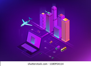 Isometric Modern city. Concept website template. Smart city with smart services and icons, internet of things, networks and augmented reality concept.