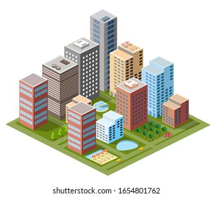 Isometric module area downtown to build a map of the city 3d illustration