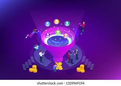 Isometric online funnel generation sales, customer generation, digital marketing and e-business technology concept. Landing page template for web. Internet marketing illustration.