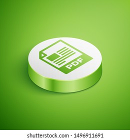 Isometric PDF file document icon. Download pdf button icon isolated on green background. PDF file symbol. White circle button