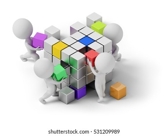 isometric people - concept of creating. 3d image. White background.