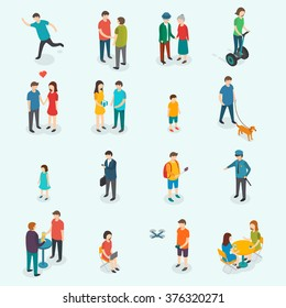 Isometric people. Set of woman and man.