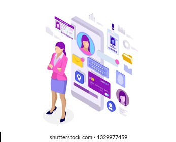 Isometric Personal Data Information App, Identity Private Concept. Digital data Secure Banner. Biometrics technology illustration for personal identity recognition and access authentication