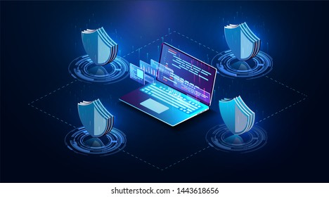 Isometric personal data protection web banner concept. Cyber security and privacy. Network digital technology concept. Security   isolated illustration. The future of data security.