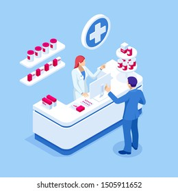 Isometric Pharmacy Store and Doctor pharmacist and patient. Woman pharmacist holding prescription checking medicine in the pharmacy. Health Care concept.