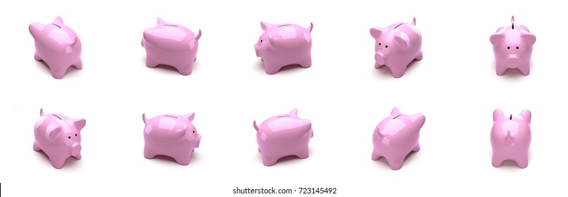 Isometric piggy bank. The objects are isolated against the white background and shown from different sides. 3D Render.