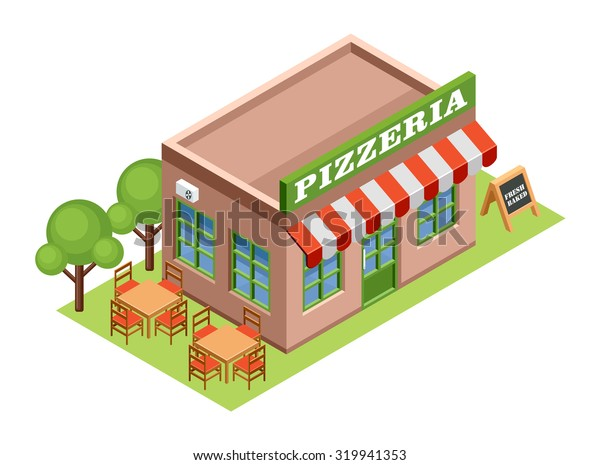 Isometric pizzeria. Raster illustration