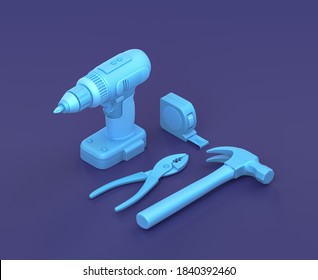 Isometric power drill with hammer, table measure and pliers on blue background, single color workshop and DIY tool, 3d rendering