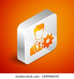 Isometric Profile settings icon isolated on orange background. User setting icon. Profile Avatar with cogwheel sign. Account icon. Male person silhouette. Silver square button
