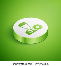 Isometric Profile settings icon isolated on green background. User setting icon. Profile Avatar with cogwheel sign. Account icon. Male person silhouette. White circle button