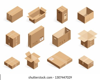 Isometric realistic cardboard delivery boxes. Opened, closed logistic box isolated on the white background.