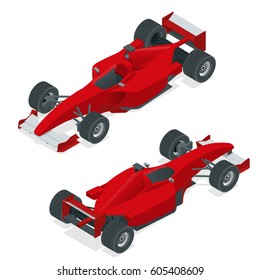 Isometric red sport car or Formula 1 Car. Flat 3d isometric illustration. For infographics and design.