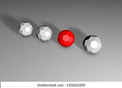 Isometric red unique buckyball in row of many ones on black-and-white background. Uniqueness, difference, individuality and loneliness concept. Technology background. 3d illustration