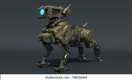 Isometric   Robot dog. 3d rendering