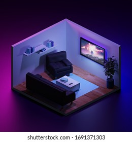 Isometric Room With Furniture Low Poly 3d Illustration