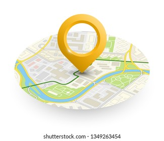 Isometric round city map navigation, point marker background, app isometry circle schema, simple city plan GPS navigation, final destination arrow paper city map. Route delivery check point graphic