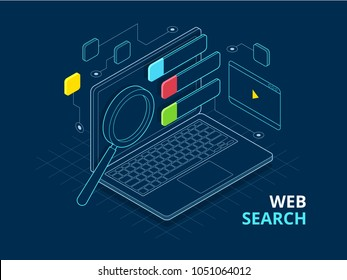 Isometric search engine result page. Page showing search results of a query, web search flat concept. Smart and simple web interface with different apps