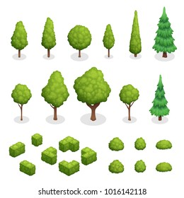 Isometric set of park plants with green trees and bushes of various shapes isolated  illustration