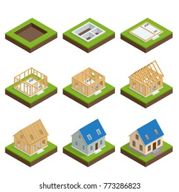 Isometric set stage-by-stage construction of a blockhouse. House building process. Foundation pouring, construction of walls, roof installation and landscape design illustration