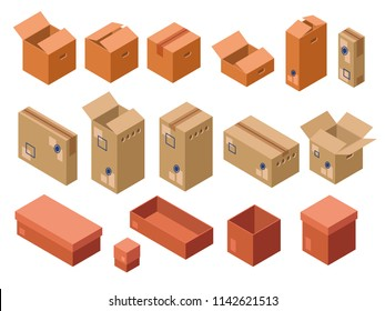 43921652814 isometric shipping package cardboard boxes set. Open closed delivery parcel  containers