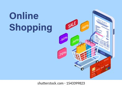 Isometric Smart phone online shopping concept. Online store, shopping cart icon. Ecommerce. illustration in flat style raster version