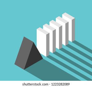 Isometric stable reliable triangular prism stopping potential crisis and domino effect. Security, risk, management and solution concept. Flat design