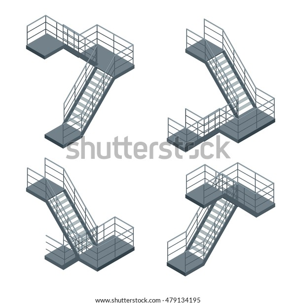Isometric staircase. Flat 3d  illustration.