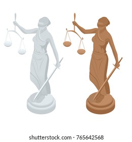 Isometric statue of god of justice Themis or Femida with scales and sword. Symbol of law and justice. Flat icon illustration