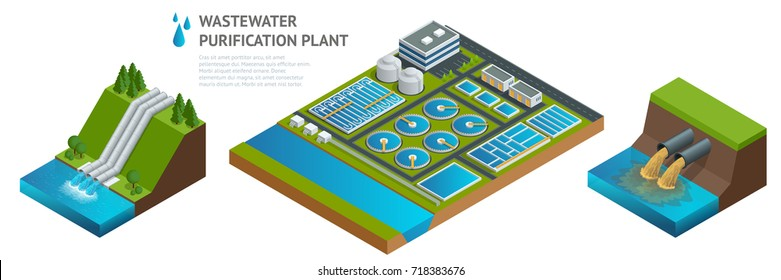 Isometric storage tanks in sewage water treatment plant. Dirty wastewater. Discharge of liquid chemical waste. The danger for the environment.