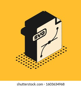Isometric SVG file document. Download svg button icon isolated on yellow background. SVG file symbol.
