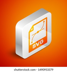Isometric SVG file document icon. Download svg button icon isolated on orange background. SVG file symbol. Silver square button