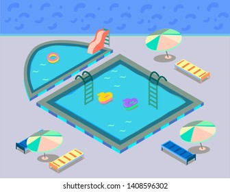 isometric swimming pool with floaties and slide