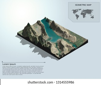 Isometric terrain 3d map for infographic.