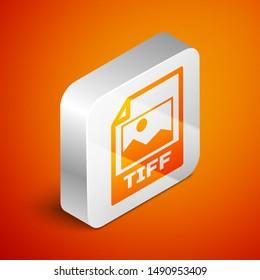 Isometric TIFF file document icon. Download tiff button icon isolated on orange background. TIFF file symbol. Silver square button