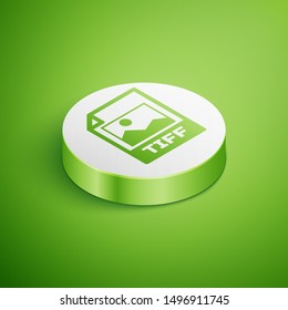 Isometric TIFF file document icon. Download tiff button icon isolated on green background. TIFF file symbol. White circle button