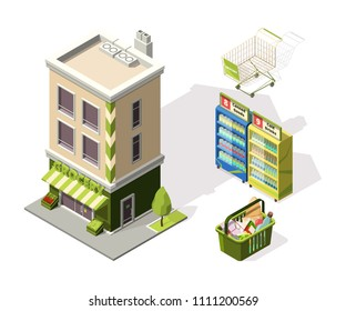 Isometric tools for supermarket. 3d illustrations of shopping basket. Supermarket store isometric, shop with food