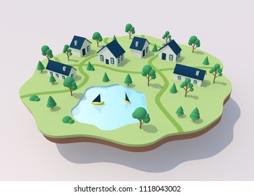 Isometric town illustration. Little houses and lake. 3d